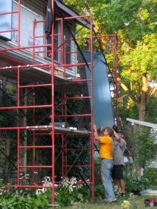 Solar hot air panels going up